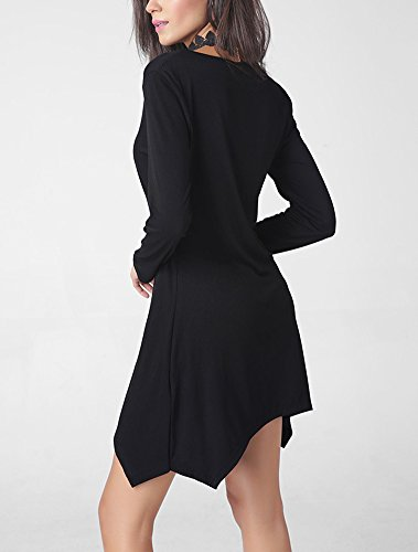 Minetom Damen Elegant Lässig V-Ausschnitt Unregelmäßiger Saum Langarm Basic Kleider Shirtkleid Mini kleid Schwarz