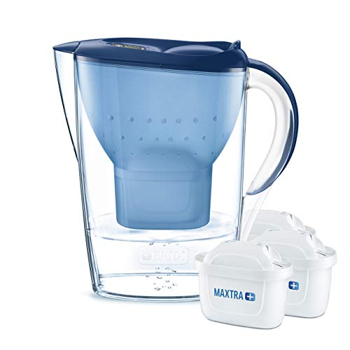 BRITA Marella water filter jug starter pack,  includes 3 MAXTRA+ , Blue -Fridge fit