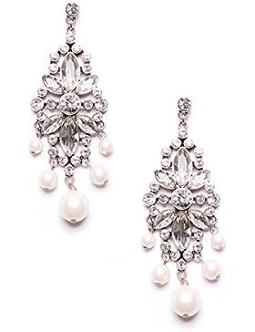 Happiness Boutique Damen Statement Ohrringe Chandelier in Vintage Silber | Auffällige Ohrringe mit Kunstperlen