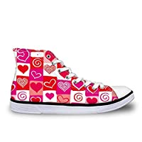 ASILAX& Lovely Heart Pink Canvas Shoes Flat Vulcanized Shoe Casual Lace Up High Top Pump Heart CC3105AK UK 5