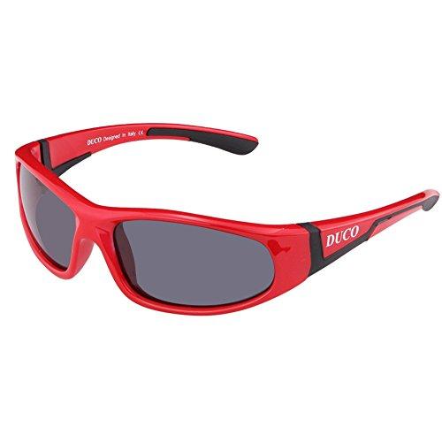 DUCO Kinder Sonnenbrille Polarisierte Sportbrille für Jungen und Mädchen (Rot002 Für Alter 5-10)