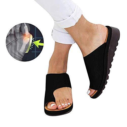 Frauen Bequeme Plattform Sandale Schuhe Sommer Strand Reise Schuhe,Bunion Splints, Damen Big Toe Hallux Valgus Unterstützung Plattform Sandale Schuhe Für Die Behandlung,001,38