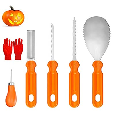 YZHI Pumpkin Carving Kit 5pcs with Protective Gloves Stainless Steel Pumpkin Tools Gifts Pumpkin Carving Set for Adults and Kids