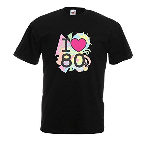 Männer T-Shirt Ich liebe 80er Konzert t-shirts Weinlese Kleidungs Musik t-shirts geschenke (XX-Large Schwarz (80er Kostüme Sie Und Jahre Ihn Für)