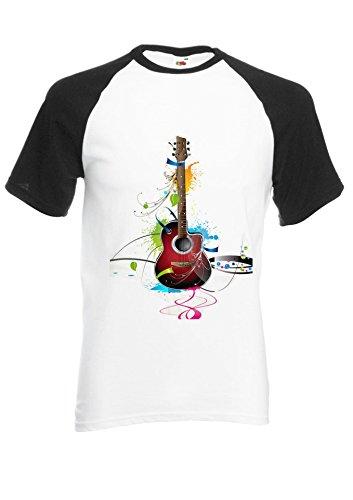 Colourful Guitar Cool Music Black/White Men Women Unisex Shirt Sleeve Baseball T Shirt-XXL par  NisabellaLTD