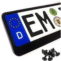 Kennzeichenhalter Auto (2 Stück) Nummernschildhalter Klassisch Schwarz (EU Standard Grösse 52cm)