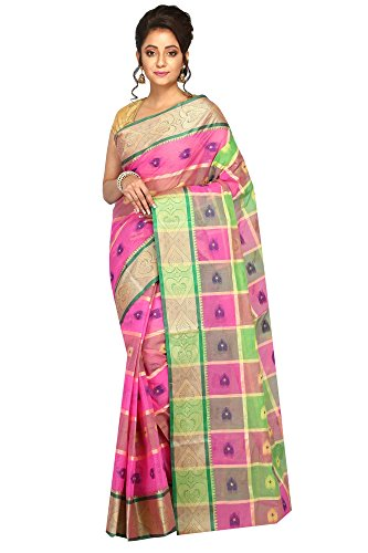 Madhushree Cotton Saree, Traditional Bengali Wear (Pink & Green)