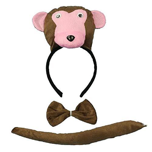 Scimmia - Set Cerchietto - Coda - Papillon - Animali - Donna - Bambini - Costume Travestimento Carnevale Halloween Cosplay Accessori - Idea Regalo