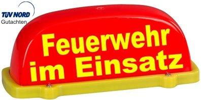 Dachschild City - leuchtrot - Feuerwehr im Einsatz - Textfarbe gelb - unbeleuchtet - Dachaufsetzer