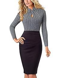 HOMEYEE Damen Vintage Stehkragen Kurzarm Bodycon Business Bleistift Kleid B430