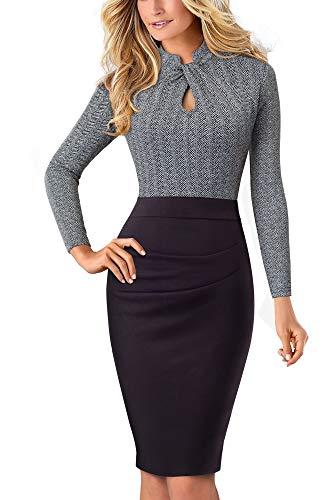 HOMEYEE Damen Vintage Stehkragen Kurzarm Bodycon Business Bleistift Kleid B430 (EU 40 = Size L, Grau + Lange Ärmel)