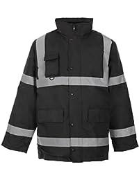 Fast Fashion - Deux 2 Ton Viz Hi Parka Manteau Réfléchissant Veste De Vêtements De Travail Rembourré Imperméable - Mens