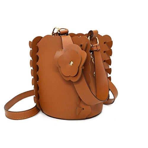 QPALZM Frau 2017 Gewebte Blume Eimer Tasche Handtasche Schulter Messenger Tasche Handtasche Brown