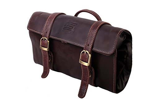 Sibastone Vanity Bag Leather Hero Kulturtasche Büffelleder, Farbe:Brandy (- Grain-leder-aktentaschen)