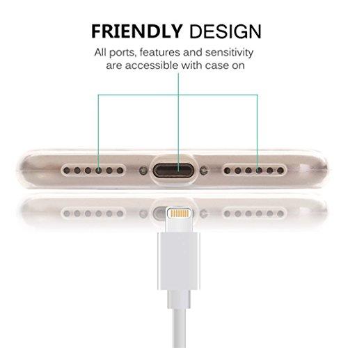 Custodia iPhone 8/7, Silicone Trasparente Morbida Clear Gel Cover, Ultra Slim Antiurto Anti-Graffio Bumper Case con Disegni-onda Dente di leone 2