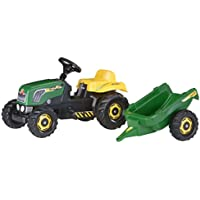 rolly toys 012442 Rolly Kid Pedal Tractor with Storage Platform – Green Toys