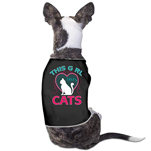 This Girl Loves Cats Pets Clothing Costumes Puppy Dog Clothes Hund Kleider Vest Tee T-Shirt -