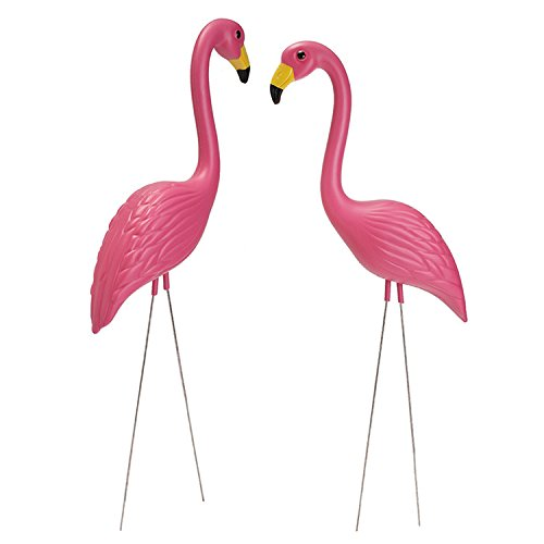 go Figur Dekor Kunststoff Standing Flamingo Garten Stake Statue Outdoor Yard Rasen Terrasse Dekoration Ornament Weihnachtsfeier Lieferungen von yunhigh (Yard Rosa Flamingos)