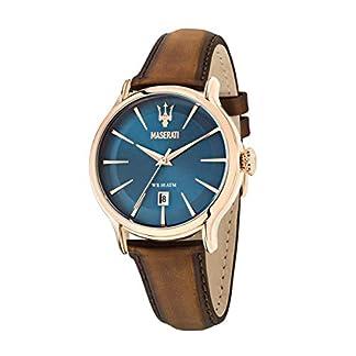 Reloj para Hombre, Colección Epoca, Movimiento de Cuarzo, Solo Tiempo con Fecha, en Acero, PVD Oro Rosa y Cuero – R8851118001