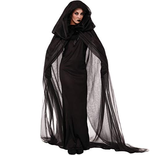 Haunted Kostüm Geist - QWEASZER Damen sexy Haunted House weiblichen Geist kostüm Halloween Cosplay cos hexenkleid bar Nachtclubs Club Party Dance bühnenkostüme,Black-XL