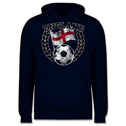 EM 2016 - Frankreich - England Flagge & Fußball Vintage - Männer Premium Kapuzenpullover / Hoodie Dunkelblau