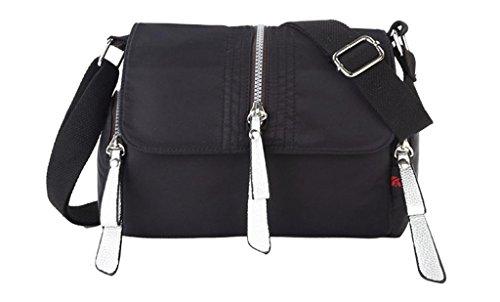 Auspicious beginning Neue Art wasserdicht Nylon tragbaren Schulter schwarz Messenger Bag Schwarz