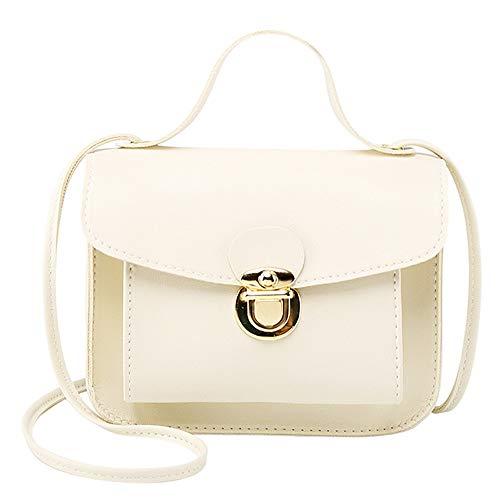 Mini Feste Handtasche Leder Umschlag Kupplungen Mode Büro Damen Sperre Messenger Kleine Schulter Handytaschen Weiß 14 * 6 * 17 - Beste Rucksack Sprayer
