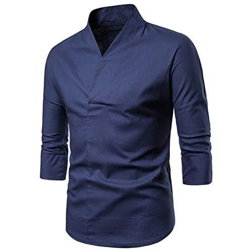 Herren-Hemd-Slim Fit-Langarm Hemd für Freizeit Hochzeit Briskorry Herren Rollkragen Shirt Freizeithemd Hemd männer Kent-Kragen Business Casual