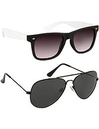 Xforia Polarized Fancy Aviator& Wayfarer Sunglasses For Men & Women Combo Of 2 (DX-FLX- 533 | Blue& Black Plain...