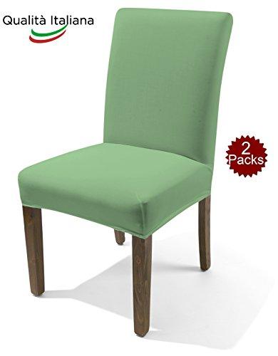 Coprisedia fodera per sedia coppia random in tessuto elasticizzato tinta unita verde salvia made in italy