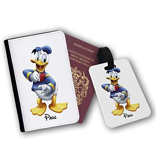 Disney Donald Duck Reisepasshalter und Gepäckanhänger aus Kunstleder Weiß Black with White Face Passport Holder & Luggage Tag (Duck-tasche Donald)