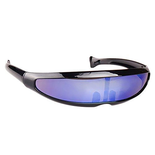 Haihuic Futuristische Cyclops-Sonnenbrille Cyberpunk Verspiegelte Linse Visier Sonnenbrillen