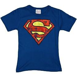 Logoshirt - Camiseta de Superman Infantil, Talla 4-5 Years - Talla Inglesa, Color Azul (Azure Blue)