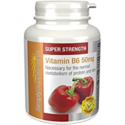 Vitamin B6 50mg - 360 Tabletten - Versorgung für bis zu 1 Jahr - für den weiblichen Hormonausgleich - Simply Supplements