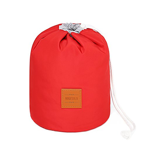 Angesolo großes Fassungsvermögen Multifunktional Kosmetiktasche Drawstring Storage Bag Barrel Kulturbeutel Reise tragbar rot (Patent No 004047397-0001)
