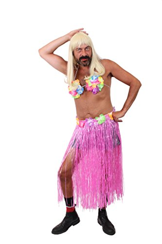 ILOVEFANCYDRESS LUSTIGES MÄNNER Hawaii SÜDSEE Hula KOSTÜM VERKLEIDUNG Polterabend+JUNGESELLENABSCHIED=MIT+OHNE Blonder PERÜCKE = MIT PERÜCKE