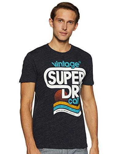 Superdry Herren Malibu Tee T-Shirt, Blau (Bass Blue Heather Zv9), Medium (Herstellergröße: M)