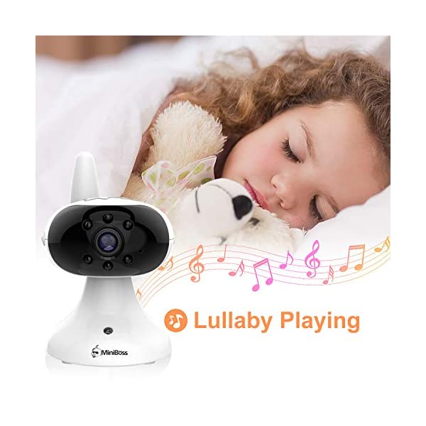 """MiniBoss Baby Monitor with Camera Video Audio Monitor 3.5"""" LCD Screen Temperature Sensor Night Vision Lullaby Two-Way Talk  【Wireless & Secure Connection】The baby monitor equipped with 2.4GHz digital frequency provides security and interference-free connection without any network access. 【Upgraded Camera & VOX Function】The video baby monitor offer high definition and stable audio video streaming to last 7 hours per fully charged. It covers a long distance transmission range of up to 960 feet, and expandable up to 4 cameras for simultaneous monitoring. 【Two-way Talk & Lullabies】The audio baby monitor has advanced built-in microphone and speaker for clear two-way audio conversations between the wireless monitor and camera sides. Allows you to talk back promptly or play lullabies to soothe baby when she is crying. 14"""