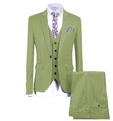 Lime Green Smoking-weste (Herrenanzüge 3 Stück Formale Slim Fit Notch Revers Smoking Solide für Hochzeit(Blazer + Weste + Hose)(Lime Green,EUR62))