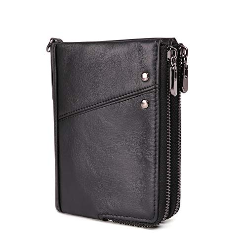 Mens Real Soft Leather Wallet Vintage RFID Blocking Credit Card Slots Holder Bifold Purse with 2 Large Zip Coin Pocket with Gift Box (Black)