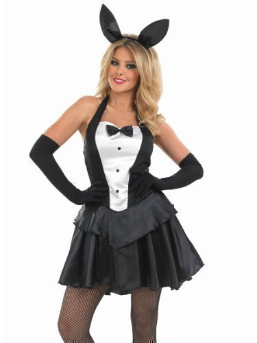 Damen Sexy Ostern Playboy-Bunny Mädchen Hase Animal Halloween Kostüm Outfit UK 8-26 Übergröße - Schwarz/weiß, (Handschuhe Bunny Kostüm)