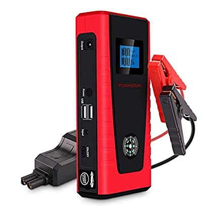 Arrancador de Coche Portatil 6000mAh 400A Jump Starter Power Bank Arrancador de Moto Arranque para 12V 2.5L Gasolina con Entrada de tipo USB(Rojo)