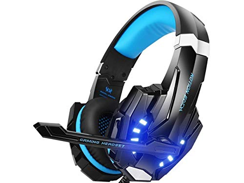 7. Kotion Each: Over the Ear Headsets with Mic & LED - G9000 Edition for PC/ iPad/ iPhone/ Tablets/ Mobile Phones (Black/Blue)