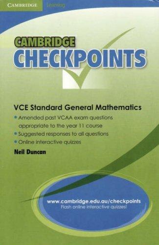 Cambridge Checkpoints VCE Standard General Maths: Units 1&2
