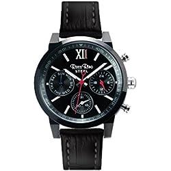 Ross Rino Aquila Unisex Quarzuhr mit schwarzem Zifferblatt Analog-Anzeige und schwarz Leder Armband