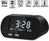 Radiowecker, FM Radiowecker Digital mit Zwei USB Ladeanschlüssen, Nakeey Digitaler Wecker,Reisewecker, Dual-Alarm,6 Helligkeit,7 Alarmtöne mit 16 Lautstärke für Schlafzimmer,Kind,Büro -