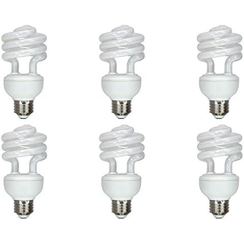 12 Vmonster, confezione da 6, DC 12 V, 15 W, colore bianco caldo Lampadina CFL-Lampadina fluorescente compatta, E27, DC 12 V E26