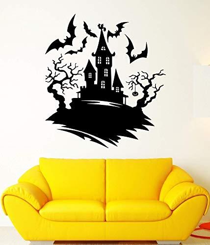 t Nacht Fledermäuse Burg Halloween Baum Angst Vinyl Aufkleber Halloween Urlaub Wandaufkleber Wohnkultur 57 * 63 cm ()