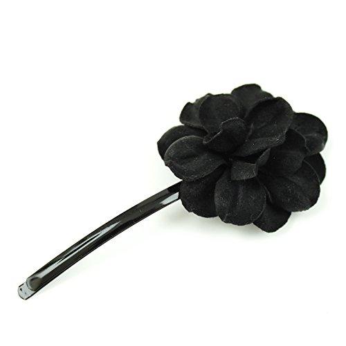 rougecaramel - Accessoires cheveux - Mini pince fleur en cuir véritable - noir