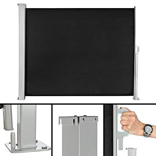 Melko ausziehbare Seitenmarkise, 160 x 0-300 cm, Sichtschutz, Sonnenschutz, Windschutz für den Garten, Terrasse, schwarzer Rollo